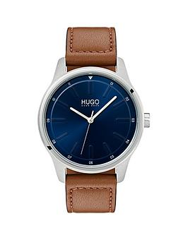 hugo-hugo-dare-blue-3-hand-dial-with-brown-leather-strap-mens-watch