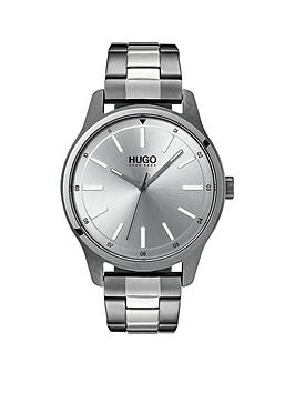 Hugo Hugo Dare Silver 3 Hand Dial With Grey Ip And Stainless Steel Bracelet Mens Watch thumbnail