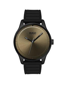 Hugo Hugo Move Khaki 3 Hand Dial With Black Rubber Strap Mens Watch thumbnail