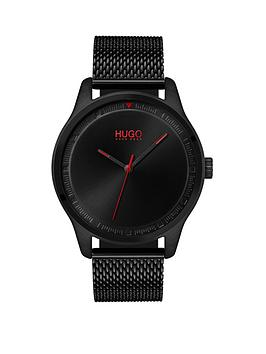 hugo-hugo-move-black-3-hand-dial-with-black-ip-mesh-bracelet-mens-watch