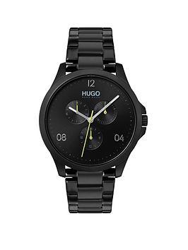 Hugo Risk Multi Dial Mens Black Stainless Steel Bracelet Strap Watch thumbnail