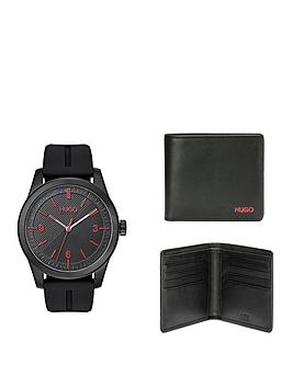 hugo-hugo-black-and-red-detail-dial-black-silicone-strap-mens-watch-and-black-leather-wallet-gift-set