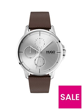 hugo-focus-silver-multi-dial-watch-with-brown-leather-strap