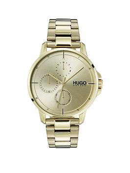 hugo-focus-gold-ip-multi-dial-watch-with-gold-ip-stainless-steel-bracelet-strap