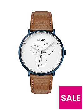hugo-hugo-guide-white-multi-dial-with-blue-case-and-light-brown-leather-strap-mens-watch