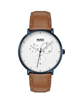 Hugo Hugo Guide White Multi Dial With Blue Case And Light Brown Leather Strap Mens Watch thumbnail