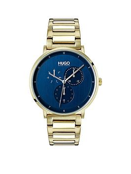 Hugo Guide Blue Dial Mens Watch with Ice Gold Bracelet Strap, One Colour, Men thumbnail