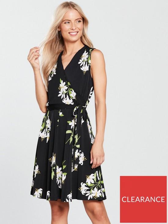 6050173c1e Wallis Lily Bouquet Fit and Flare Wrap Dress - Black