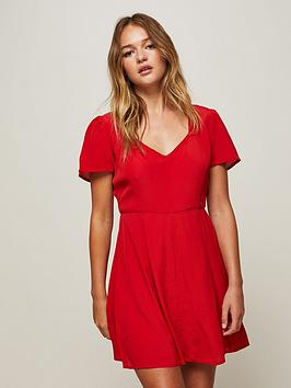 miss-selfridge-miss-selfridge-red-fit-and-flare-skater-dress