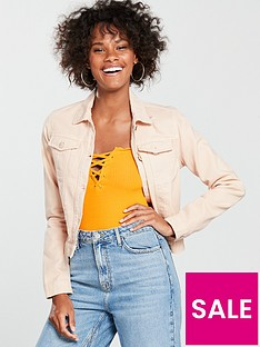miss-selfridge-miss-selfridge-peach-ripped-cropped-jacket