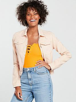 miss-selfridge-miss-selfridge-peach-ripped-cropped-jacket
