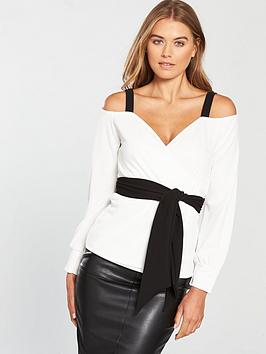 v-by-very-cold-shoulder-wrap-top-monochrome
