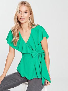 v-by-very-wrap-top-green