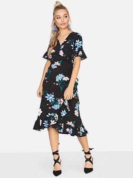 Girls On Film Girls On Film Spot Floral Print Midi Wrap Dress