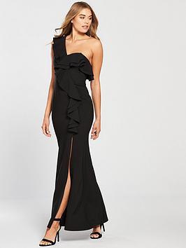 little-mistress-one-shoulder-frill-detail-maxi-dress-black