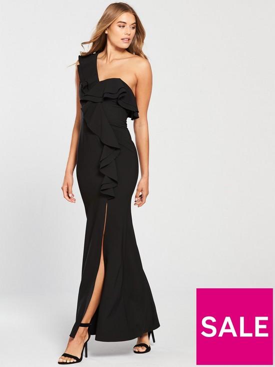 Little Mistress One Shoulder Frill Detail Maxi Dress - Black  98342dd01