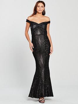 Little Mistress Bardot All Over Sequin Maxi Dress - Black