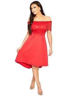 sistaglam-loves-jessica-bardot-crochet-top-skater-dress-red