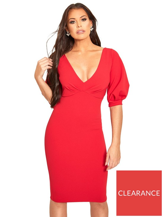 31293081f7e27 Sistaglam Loves Jessica Balloon Sleeve Bodycon Midi Dress - Red ...