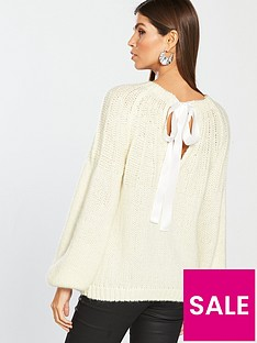 v-by-very-open-bow-back-jumper-cream