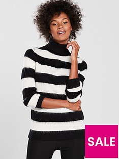 v-by-very-brushed-stripe-jumper-blackwhite