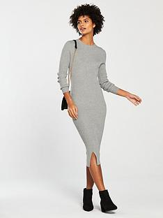 v-by-very-skinny-rib-split-hem-knitted-midi-dress-grey-marl