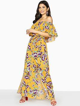Girls On Film Multi Floral Bardot Maxi Day Dress - Multi