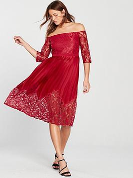 Little Mistress Bardot Lace Top Midi Dress - Crimson