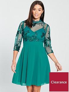 little-mistress-34-sleeve-sequin-mesh-skater-dress-green