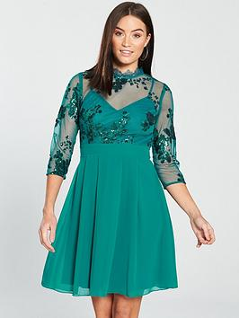 Little Mistress 3/4 Sleeve Sequin Mesh Skater Dress - Green