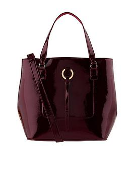 accessorize-patent-double-handle-bucket-bag-burgundy