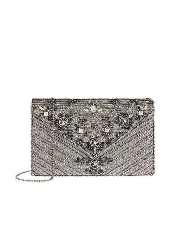 37e8cc89cf Accessorize Mia Embellished Envelope Clutch Bag - Silver | very.co.uk