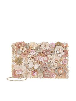 Accessorize Coralie Floral Foldover Clutch Bag - Pink