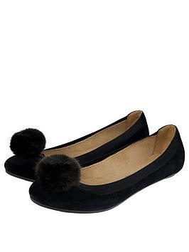 Accessorize Lauren Pom Pom Suede Ballerina Flats - Black