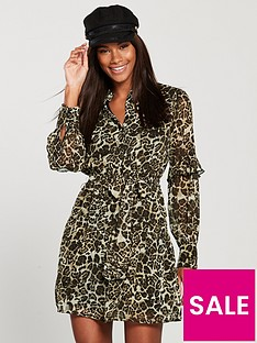 v-by-very-tie-waist-printed-ruffle-shirt-dress-leopard