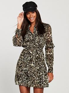 v-by-very-tie-waist-ruffle-skirt-shirt-dress-leopard-print