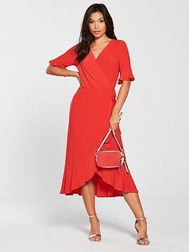 warehouse-longline-tea-dress-rednbsp