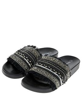 accessorize-embellished-beaded-slider-black