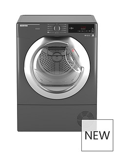 Hoover Dynamic Next DXC9TCER 9kg Load,Aquavision Condenser Tumble Dryer with One Touch- Graphite/Chrome