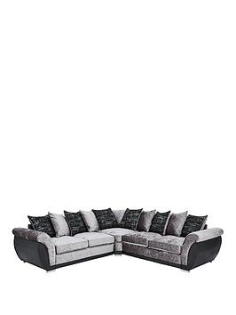 Alexa Fabric And Faux Leather Scatter Back Corner Group Sofa