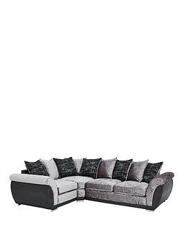 Alexa Fabric And Faux Leather Left Hand Scatter Back Corner Group Sofa