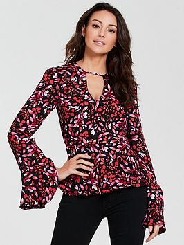michelle-keegan-frill-sleeve-printed-blouse
