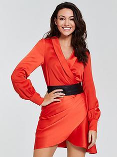 michelle-keegan-satin-wrap-dress
