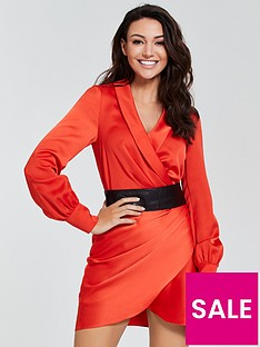 michelle-keegan-satinnbspcuffed-wrap-dress--nbsporange