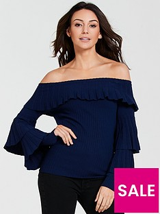 michelle-keegan-pleated-bardot-knitted-jumper-navy