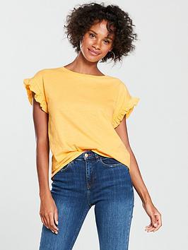 river-island-river-island-frill-sleeve-t-shirt-yellow