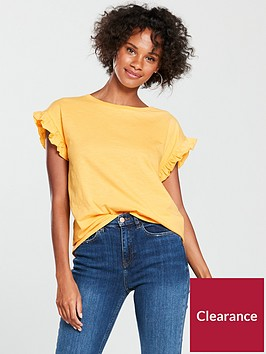 river-island-river-island-frill-sleeve-t-shirt-yellow