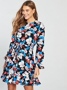 v-by-very-floral-tie-waist-skater-dress-printednbsp