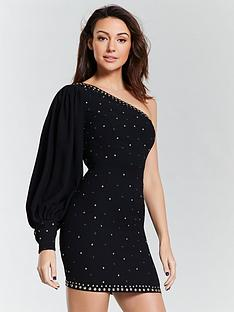 5ab6601af166 Michelle Keegan Studded One Shoulder Mini Dress - Black