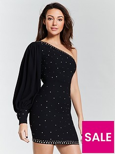 michelle-keegan-studded-one-shoulder-mini-dress-blacknbsp